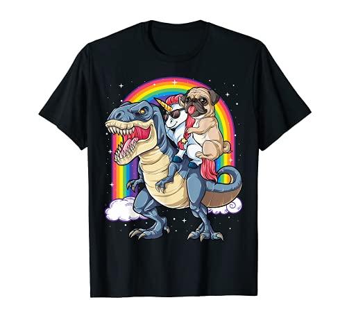 Pug Unicorn Dinosaur T rex T shirt Kids Girls Women Rainbow T-Shirt
