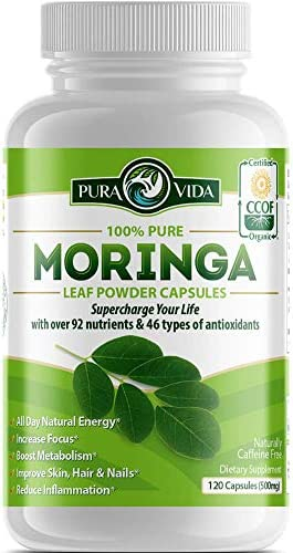 Organic Moringa Oleifera Powder Capsules: Natural Anti-Inflammatory Support for Joints. Energy, Metabolism, and Immune Booster. Rich in Nutrients and Antioxidants. Non-GMO, Single Origin, 500mg Caps
