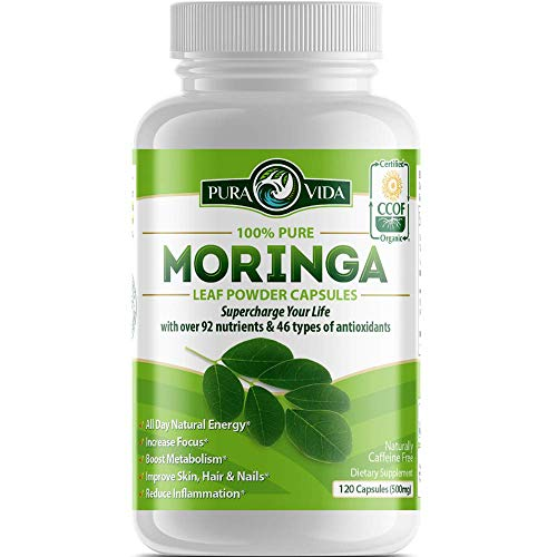 Organic Moringa Oleifera Powder Capsules: Energy, Metabolism, and Immune Booster. Natural Anti-Inflammatory. Rich in Nutrients and Antioxidants. Non-GMO, Nicaragua Single Origin 120 Caps of 500mg