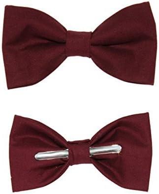 Men's Burgundy Red Clip On Cotton Bow Tie Bowtie