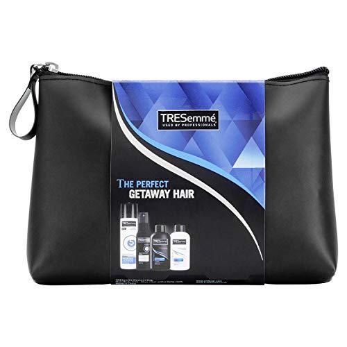 TRESemme Hair Styling Travel Essentials Geschenkset mit Waschbeutel, Haarspray, Shampoo und Spülung, Hitzeschutzspray
