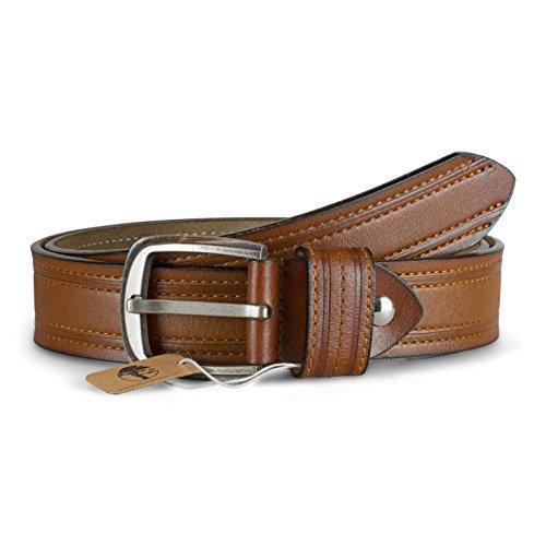 Viable Harvest Men's Professional Double Stitched Genuine Leather Belt (XL Tan)