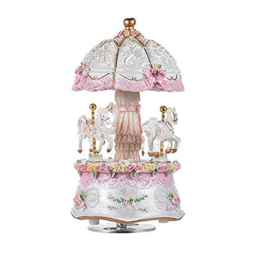 Boîte à musique manuelle Boîte à musique sonore de rêve 3 chevaux de carrousel avec des variations colorées LED Glow Castle Night Light anniversaire cadeau de Saint Valentin Bon son ( Color : White )