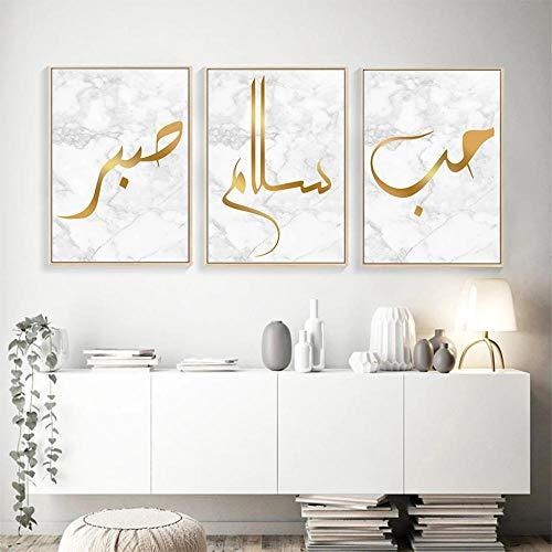Islamische Kalligraphie Liebe Frieden Poster Drucke Gold Muslim Marmor Muster Wandkunst Leinwand Bilder Wohnzimmer Modern Haus Dekoration 3 Stück Rahmenlos-A3 30x42cmx3