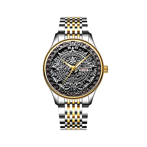 Reloj de hombre con mecanismo de cuarzo japonés y correa de acero inoxidable dorado, reloj aztec Bird en rojo