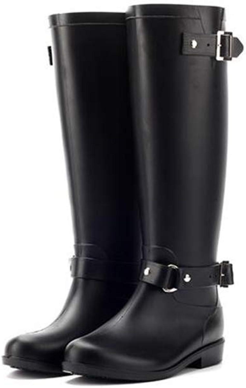 CHENSF Womens Back Tall Winter Rain Wellies Waterproof Wellington Boot
