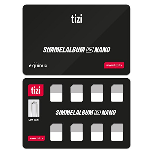 equinux New Tizi Simmelalbum 8X Nano - Convenient SIM Card Storage Set (SIM Organizer) with 8 Slots for Nano SIM Cards And SIM Eject Pin
