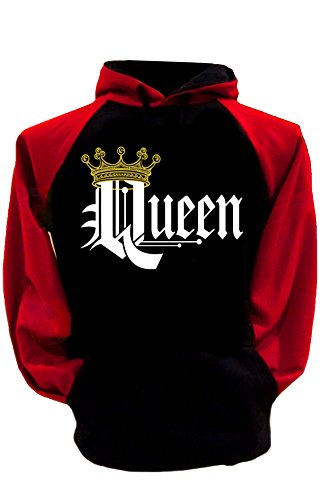 S&R Couple Matching King Queen Crown Two Tone Raglan Hoodie Pullover Hooded Sweatshirt-BLACKRED-SMALL-QUEEN