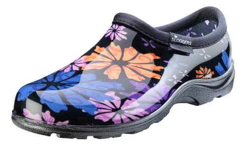 Sloggers Women's Waterproof Rain and Garden Shoe with Comfort Insole, Flower Power, Size 9, Style 5116FP09
