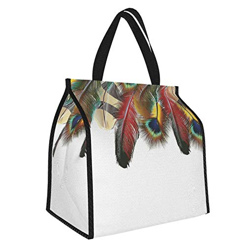 Y-shop Feather House Decor Mystical Esoteric Peacock Feathers Deep Universal Link Icons Boho Theme Green Beige Picnic Freezer Bag,Large Insulated Cooler Bag Picnic Camping Beach Tour Bbq 30l