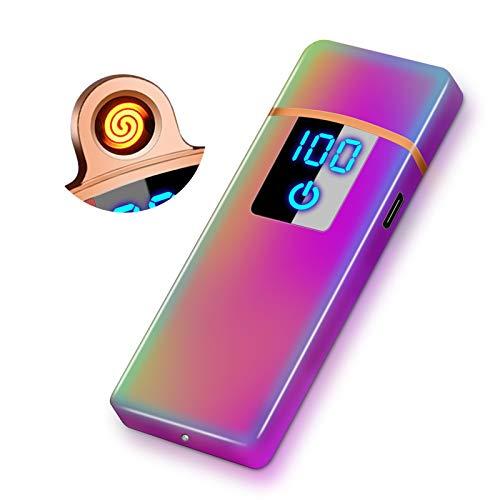 RiverMolars Y35 USB elektronisches Feuerzeug, Aufladbar Lichtbogen Elektro Feuerzeug, Touchscreen, Winddicht, Flammenlos, Leistungsanzeige, für Anzünden, Küche, Grill, Kerzen und Zigaretten (Farbig)