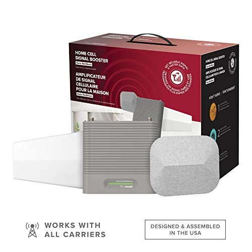 weBoost Home MultiRoom (650144) Cell Phone Signal Booster Kit | Up to 5,000 sq ft | All Canadian Carriers - Bell, Rogers, Telus & More | ISED Approved, Grey/Red
