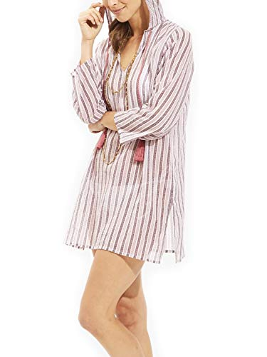 Roberta Roller Rabbit Women's Kif Stripes Hooded Kurta Small Rose