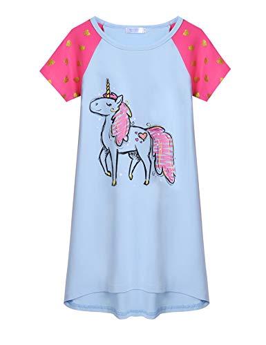 Arshiner Mädchen Unicorn Printed Nachthemd Kurzarm Baumwolle Schlafanzug Kleider Nachtwäsche Kinder Sommer Prinzessin Nightdress Nachtkleider Blau 120