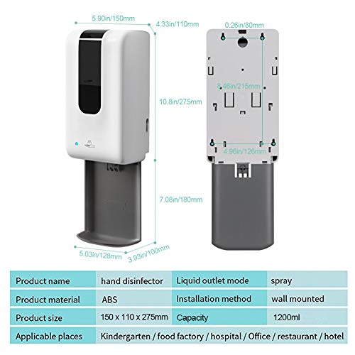 TZUTOGETHER Automatic Hand Sanitizer Dispenser with Stand -1200ML Touchless Hand Sanitizer, for Liquid Hand Sanitizer…