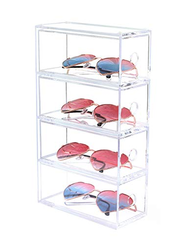 Longjet Sunglasses Case 4 Drawers Clear Acrylic Display Organizer for Glasses Jewelry Cosmetic Watch Storage and Makeup Brush Holder