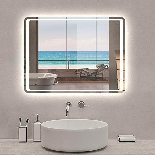 AicaSanitär Badspiegel mit LED Beleuchtung 80×60 cm Infrarot-Sensor Schalter, Anti-Beschlag, Kaltweiß Wandspiegel Mond Serie