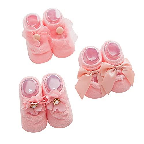 Dinnesis Calcetines de bebé recién nacido, antideslizantes, con lazo, para invierno, para niños y niñas, Rosa., S