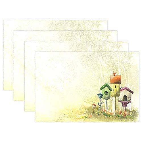 Promini Hitzebeständige Tischsets, Vogelhaus im Wald, waschbar, Polyester, Rutschfest, waschbar, Platzsets für Küche und Esszimmer, 4 Stück