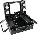 LUVODI Kosmetikkoffer mit Beleuchtung, Make-up Koffer Schminkkoffer mit Kosmetikspiegel, ausziehbaren Fächern und Handgriff, Beautycase Pilotenkoffer Schwarz, 38x17x29cm