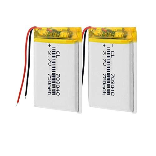 TTCPUYSA 3.7v 703040 750mah Li-Po BateríAs De Litio Recargables, Puede para Luz Led Mp3 Mp4 TeléFono Celular DVD PortáTil Banco De Energía 2pieces