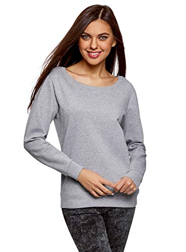 oodji Ultra Damen Lässiges Baumwoll-Sweatshirt, Grau, DE 36 / EU 38 / S