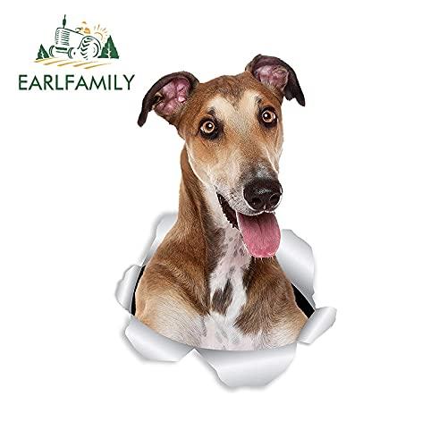 A/X Sticker de Carro 13 cm 8,6 cm 3D Perro Pegatina para Coche Feliz Perro Galgo Pegatina para Pared Nevera Inodoro Galgo Amante Rasgado calcomanía Rasgada