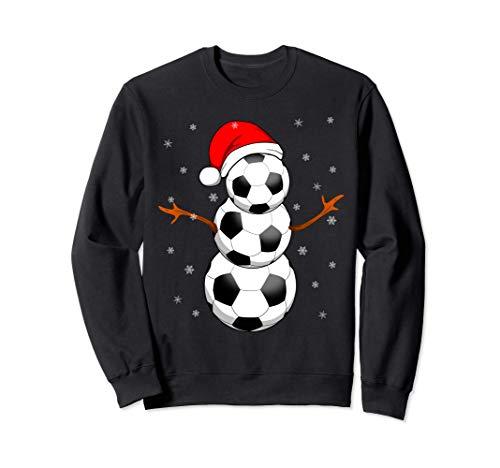 Funny Football Gifts for Boys Girls Christmas Snowman Soccer Sweatshirt