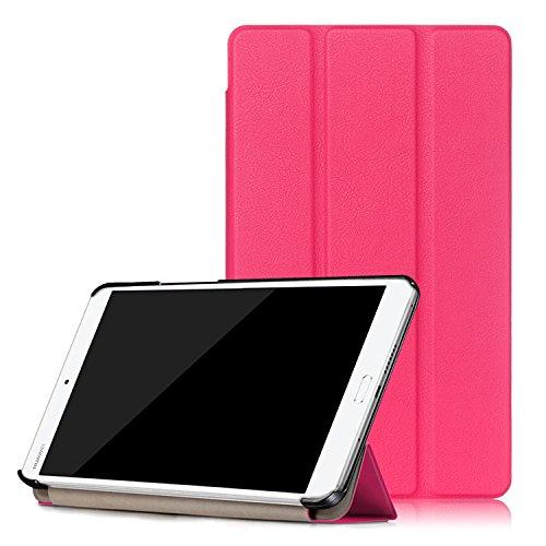 Housse Huawei MediaPad M3 8.4 inch, LOOCOO Ultra Slim étui Housse en Cuir Coque Smart Cover Case pour Huawei MediaPad M3 8.4 inch, Rose vif