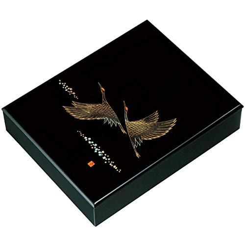 中西工芸 木製 文庫 黒 ツルの舞 30cm (書類入れ)
