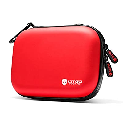Kitgo Mini First Aid Kit 101 Pieces, Water-Resistant Compact Hard Shell Case Perfect for Travel, Biking, Hiking, Camping, Car (Red)