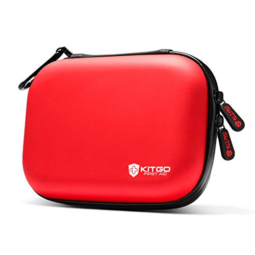 Kitgo Mini First Aid Kit 101 Pieces, 100% Water-Resistant Compact Hard Shell Case Perfect for Travel, Biking, Hiking, Camping, Car (Red)