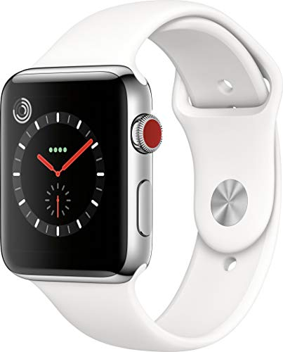 Apple Watch Series 3 (GPS + Cellular, 42MM) - Stainless Steel Case with White Sport Band (Renewed)