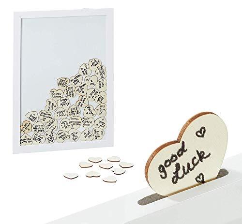Brandsseller - Libro de visitas para bodas y cumpleaños, con 72 corazones o 50 estrellas de madera para escribir