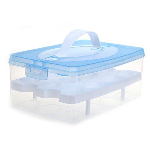 TUKA Huevera portátil Doble Capas por 24 huevos, grande plástico Higiénico contenedor para nevera, cocina, al aire libre, organizador almacenamiento de huevos, Azul, TKD6101-blue