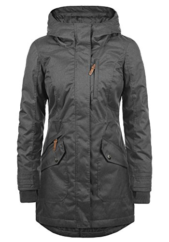 OXMO Bella Damen Übergangsjacke Parka Mantel warme Jacke gefüttert mit Kapuze, Größe:S, Farbe:Dark Grey (2890)