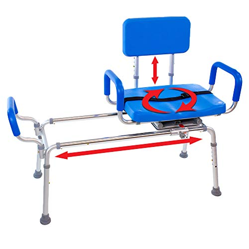 Carousel Sliding Transfer Bench with Swivel Seat-BARIATRIC 600LB Capacity. Premium Padded Bath and Shower Chair with Pivoting Arms for Tubs and Shower.