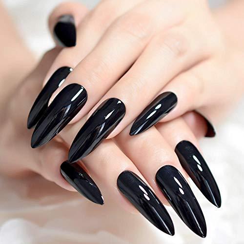 DCJ® Falsche Nägel Extra Lange scharfe Klassische Feste Schwarze Stilettos gefälschte Nagelspitzen Ovale Stilettschuhe Leuchtend schwarzer Salon Acryl gefälschte Nagelkunst