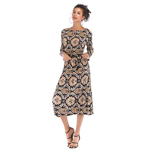 CCZMD - Vestido de gasa de manga larga para mujer con encaje de crochet, línea A, cintura alta, para fiesta, dama de honor, columpio, falda de skater, D, Large