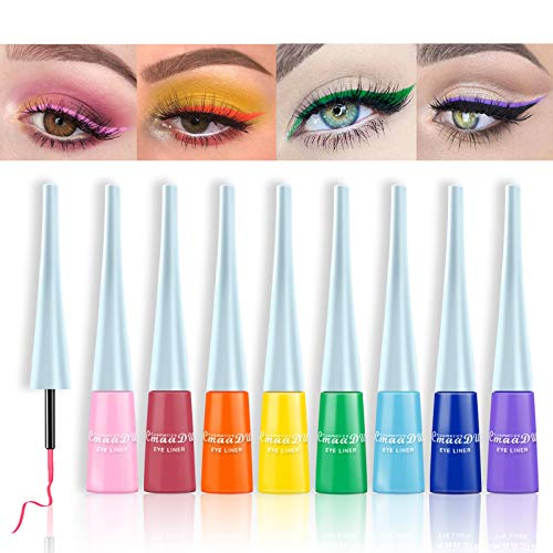 Matte Liquid Eyeliner, 8 Colors Set Long Lasting Makeup Waterproof High Pigmented Colorful Eye Liner Pen for Women Girls (8 PCS)