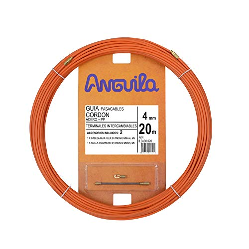 Anguila - Guía Pasacables Cordón de Acero + Polipropileno, 20 m, Diámetro 4 mm, Terminales Intercambiables, Naranja.