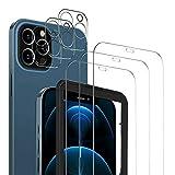 MSOVA Vetro Temperato Compatibile con iPhone 12 PRO, 3 Pezzi Vetro Temperato/Pellicola Fotocamera, Durezza 9H Senza Bolle Pellicola Protettiva Compatibile con iPhone 12 PRO 6.1