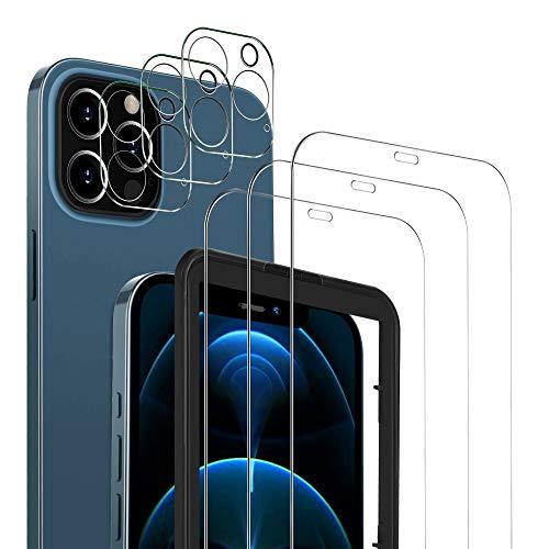 MSOVA Protector de Pantalla Compatible con iPhone 12 Pro, 3 Piezas Cristal Templado/Protector de Lente de cámara, No...