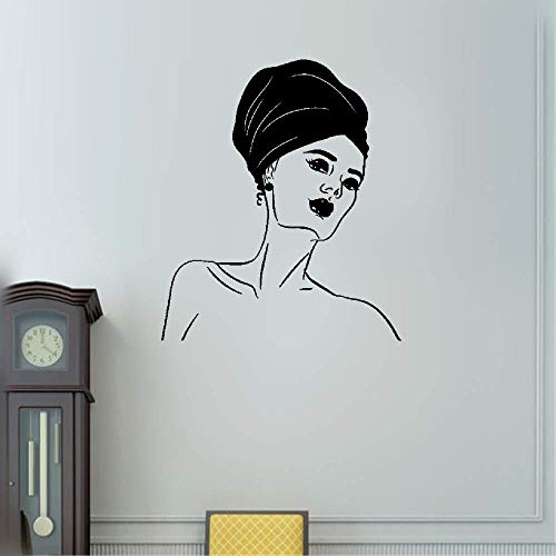 Weatyu Wall Stickers Quotes Vinyl Art Room Mural Posters African Fashion Turban Woman Head Girl Face