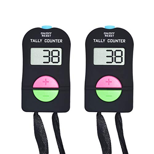 VANVENE 2pcs Digital Hand Tally Counter,Electronic Digital Display Counter,Add and Subtract People Flow Manual Clicker for Golf Sports