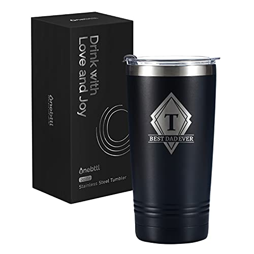 Dad Initial Gifts 590ml/20oz Tumbler Travel Coffee Mug, Father Gifts from...