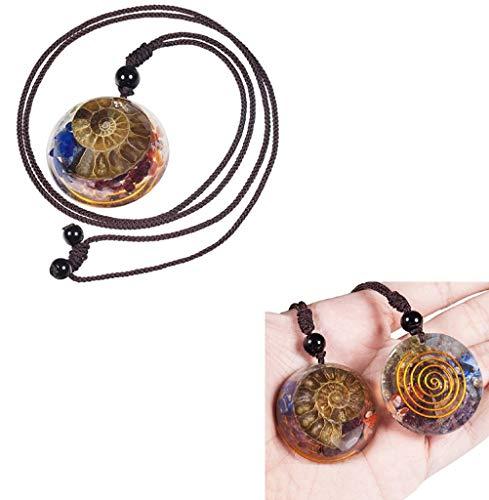 Collar con Colgante de Piedra de 7 Chakras fósiles de amonita Natural, Colgante de Amuleto de energía de Cristales curativos de orgón con Cadena Ajustable
