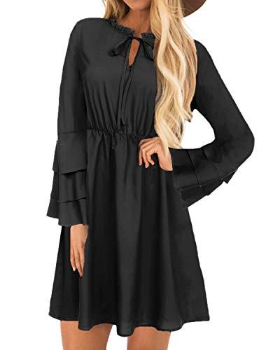 YOINS Sommerkleid Damen Minikleid für Damen Brautkleid Glockenärmel Tshirt Kleid Rundhals Langarm Minikleid Strandkleid Langes Shirt Lose Tunika Schwarz-01 M