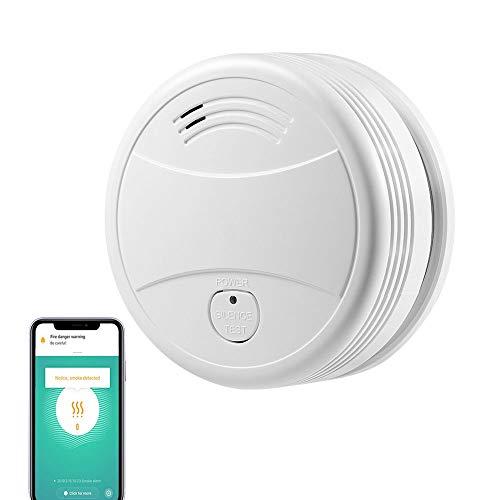 Alarmas de Incendio Detector de Humo a Pilas con Sensor fotoeléctrico y botón de Silencio, Detector de Humo Inteligente Control de la aplicación Tuya Trabaja con Alexa Google IFTTT