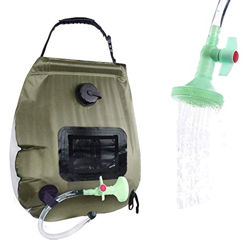 PAOOTICI Solar Shower Bag 5 gallons/20L Camping Shower Bag with Removable Hose and On-Off Switchable Shower Head for Outdoor Traveling Hiking… (Green)